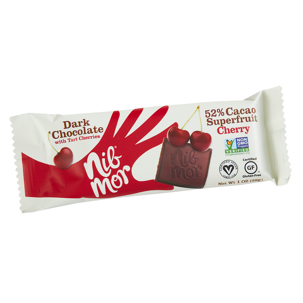 Tart Cherry Dark Chocolate 1 oz Bar - Pack of 12, Natural Bars, NibMor, NibMor - NibMor
