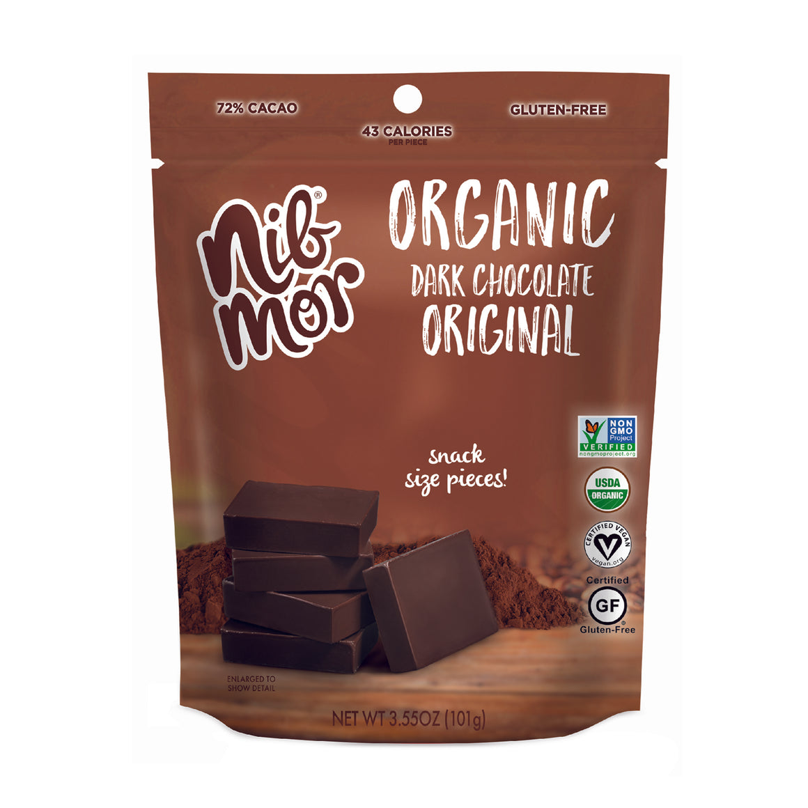 Organic 3.55oz Snacking Bag - Original - 72% Cacao, , NibMor, NibMor - NibMor