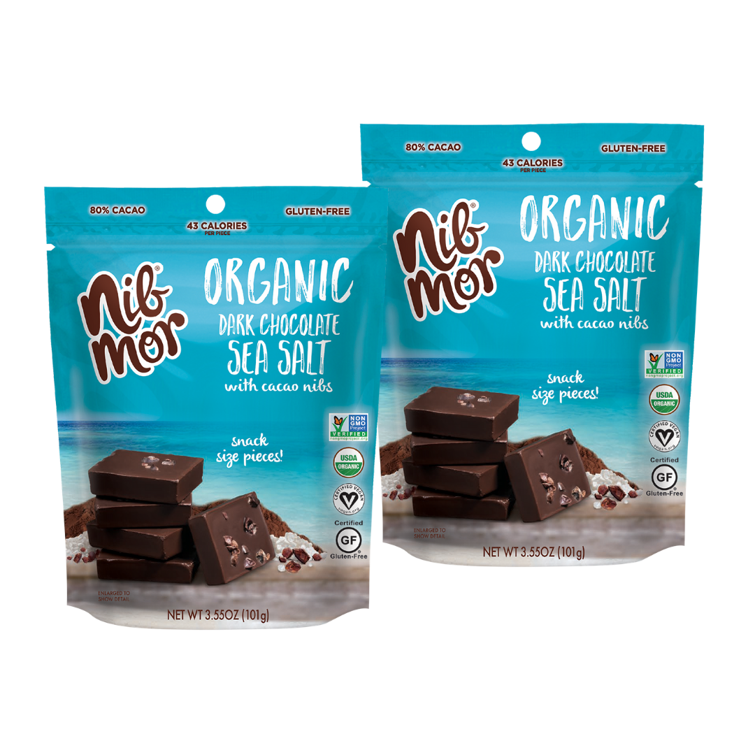 Organic 3.55oz Snacking Bag - Sea Salt - 80% Cacao - 2 for $11.99, , NibMor, NibMor - NibMor