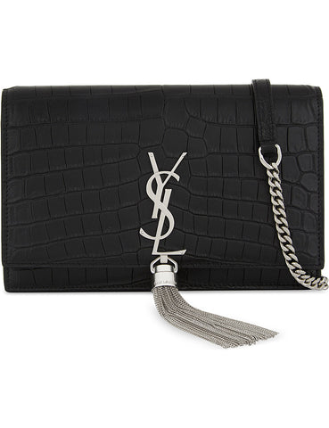 SAINT LAURENT Monogram Kate crocodile-embossed leather wallet-on-chain (452159 DZE4N 1000) *New*