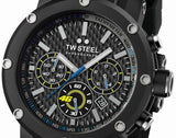 TW Steel VR46 Men's 48mm Chronograph Black Carbon Fibre Dial & Rubber Strap Watch TW937