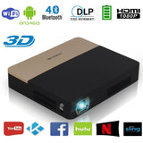 CAIWEI DLP Mini Portable Projector with Android  Wi-Fi Bluetooth 2000 Lumen 1280x800 1080P Built-in HiFi Speaker, Battery (UK4-S7-01F) *New*