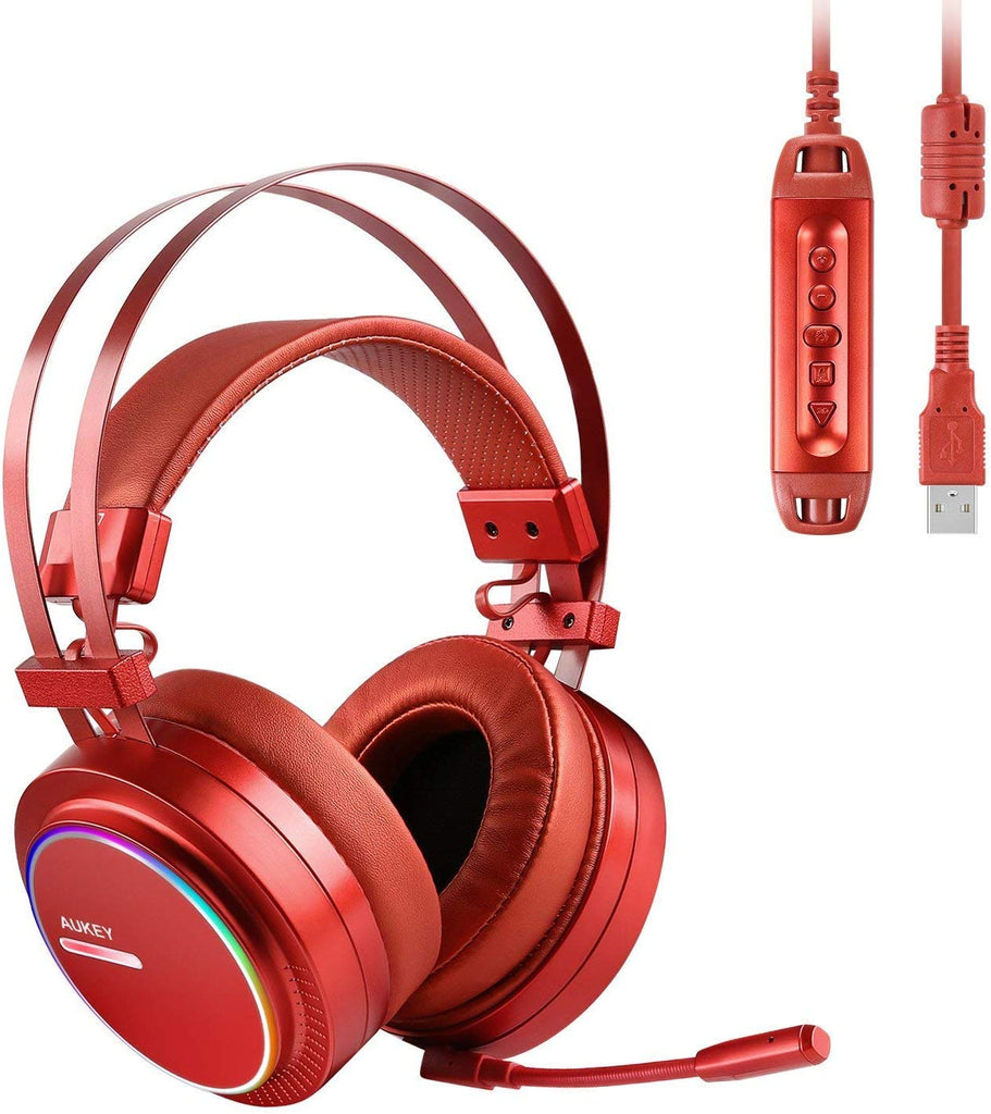 AUKEY USB Gaming Headset with Virtual 7.1 Surround Sound, Noise Canceling Mic & Volume Control, PC Gaming Headphone with RGB Rainbow Ring Lights for PC, PS4 (Red) *New*