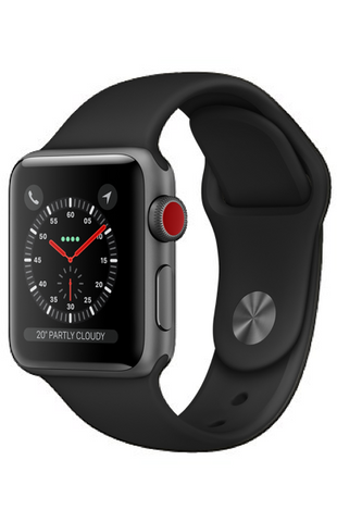 Apple Watch Series 3 (GPS + Cellular) 38mm Space Grey Aluminium Case with Black Sport Band - MTGP2B/A *New*