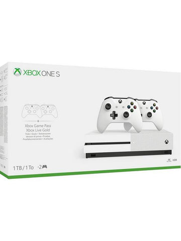 Microsoft XBOX ONE S - 1TB Console with 2x Controller - White *New*