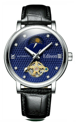 Edison Moonphase Men's Automatic Sapphire Watch With Genuine Black Leather