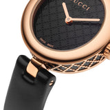 Gucci Diamantissma Ladies 27mm Rose Gold PVD Leather Strap Watch YA141501