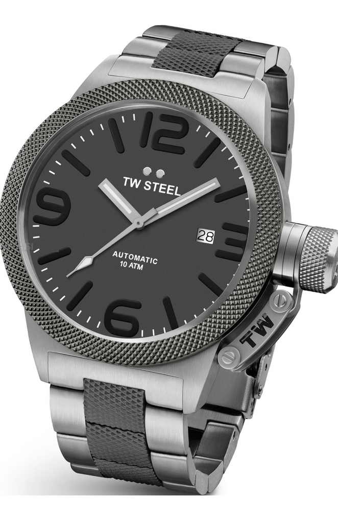 TW Steel Canteen Men's 45mm Automatic Titanium Grey Dial & Bracelet Watch CB205