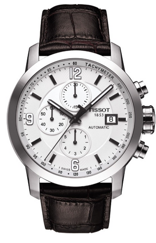 Tissot T-Sport PRC 200 Men's 44mm Automatic Chronograph White Dial & Brown Leather Watch T0554271601700