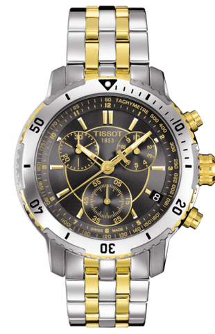 TIissot T-Sport PRS200 Men's 42mm Black Dial, Gold & Silver Chronograph Watch T0674172205100