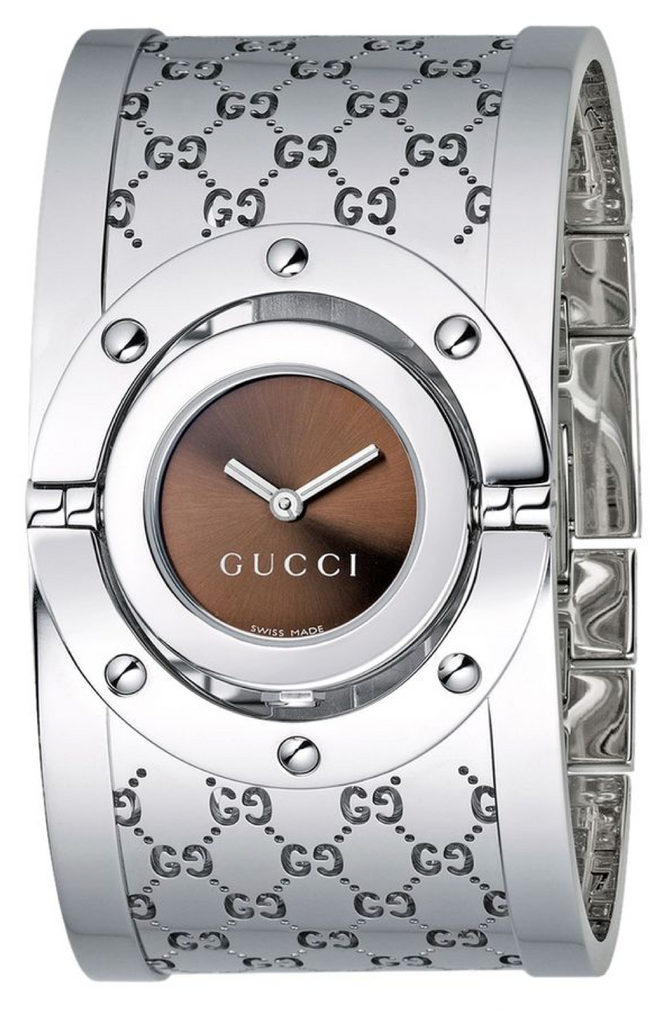 Gucci Twirl Large 33mm Ladies Brown Sun-brushed Dial Watch With Steel Bangle Strap - YA112401