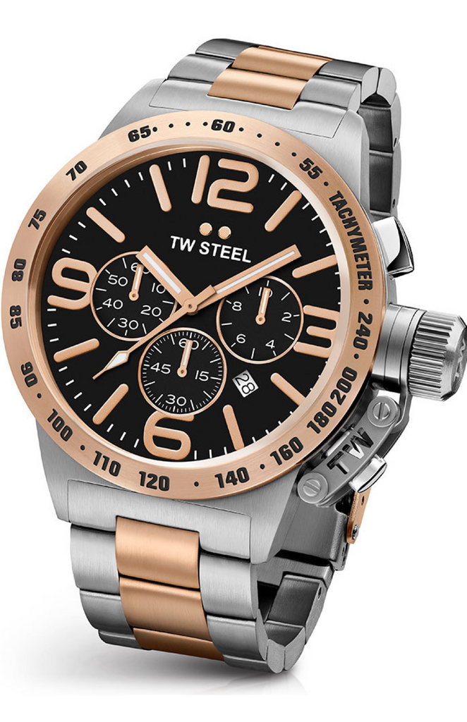 TW Steel Canteen Men's 45mm two-tone PVD Rose Gold Plated Chronograph Watch  - CB133