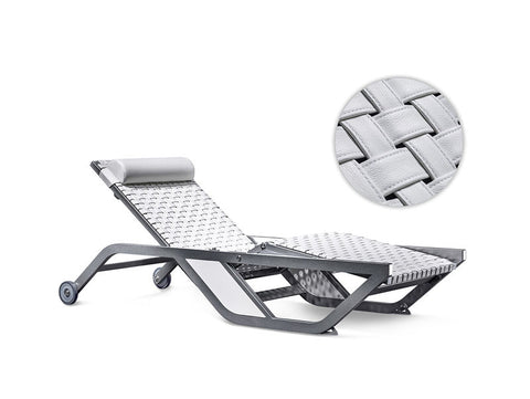Xtreme Collection Ocean Breeze Sunlounger. White (Sal) leather & Anthrazit (Grey) Frame