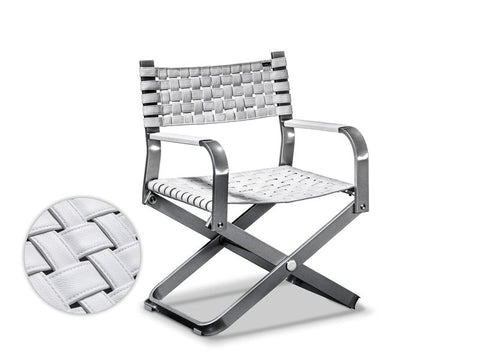 Xtreme Collection Ocean Breeze Chair. White (Sal) leather & Anthrazit (Grey) Frame