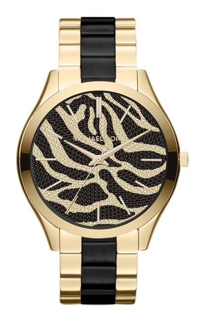 Michael Kors Ladies Slim Runway Gold & Zebra Dial 40mm Watch MK3315 *New*