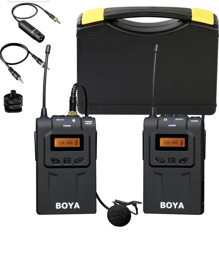 BOYA BY-UM48C UHF 48-Channel Wireless Lavalier Microphone System for DSLR Camera *New*