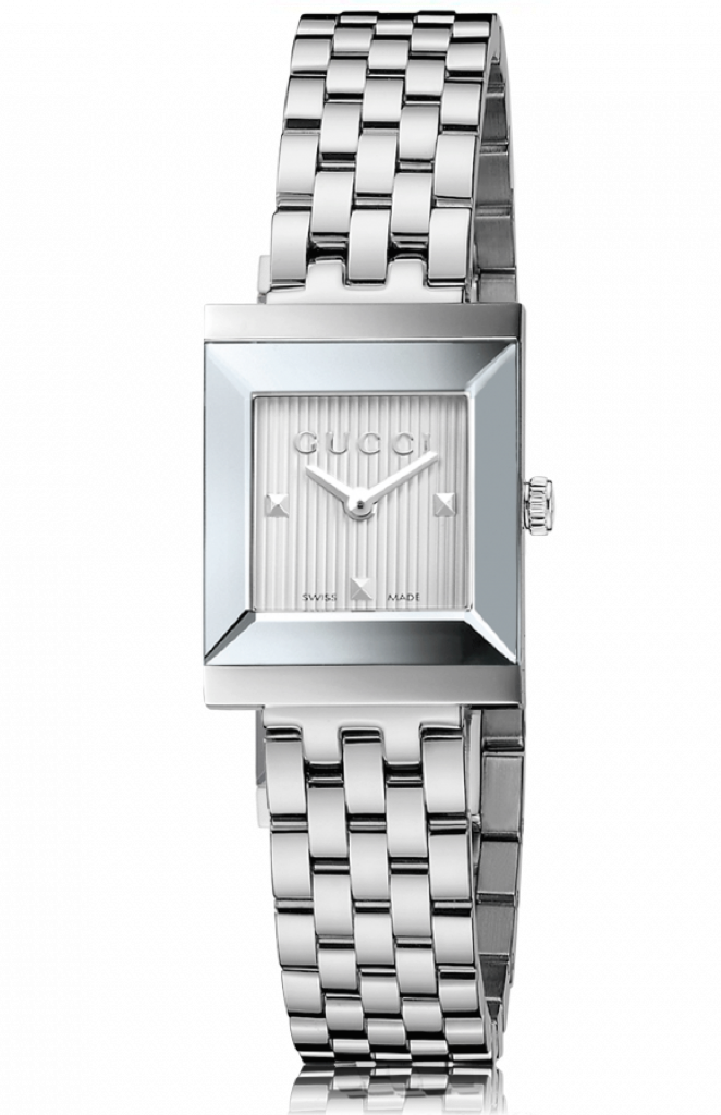 b54cd7cbb12 Gucci G-Frame Ladies 19mm Square ribbed silver Dial With Silver Stainl –  Alectronics