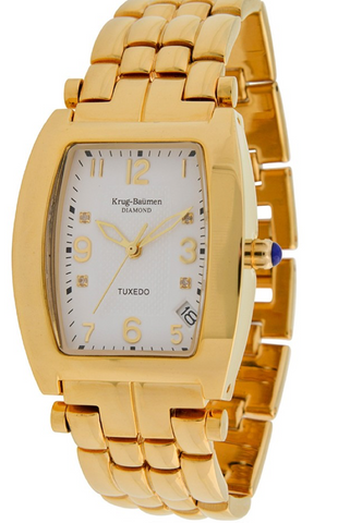 Krug-Baumen Tuxedo Gold 4 Diamond White Dial Gold Strap 1963DMG *New*