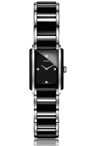 Rado Integral Women's High Tech Ceramic & Stainless Steel Diamond Rectangular Black/Silver Watch with Bi-Material Strap - R20613712 *New*