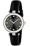 Gucci Diamantissima Ladies 32mm Black Dial Watch With Leather Strap YA141403