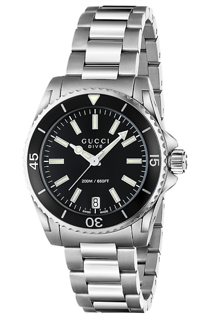 01810b925fa Gucci Dive Ladies 32mm Black Dial With Stainless Steel Bracelet Strap Watch  - YA136403