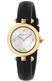 Gucci Diamantissima Ladies 27mm Gold PVD Mother of Pearl Dial Watch With Leather Strap YA141505