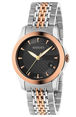 Gucci G-Timeless Ladies 27mm Black Dial With Bi-colour Rose Gold & Silver Bracelet Watch - YA126512