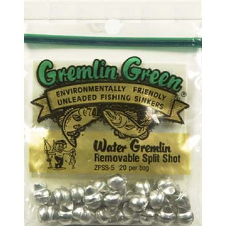 Water Gremlin's Green/ Removable Split Shot Sinker, ZPSS-5, 20 Pieces