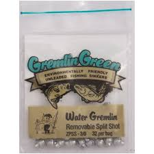 Water Gremlin's Green/ Removable Split Shot Sinker, ZPSS-3/0, 32 Pieces