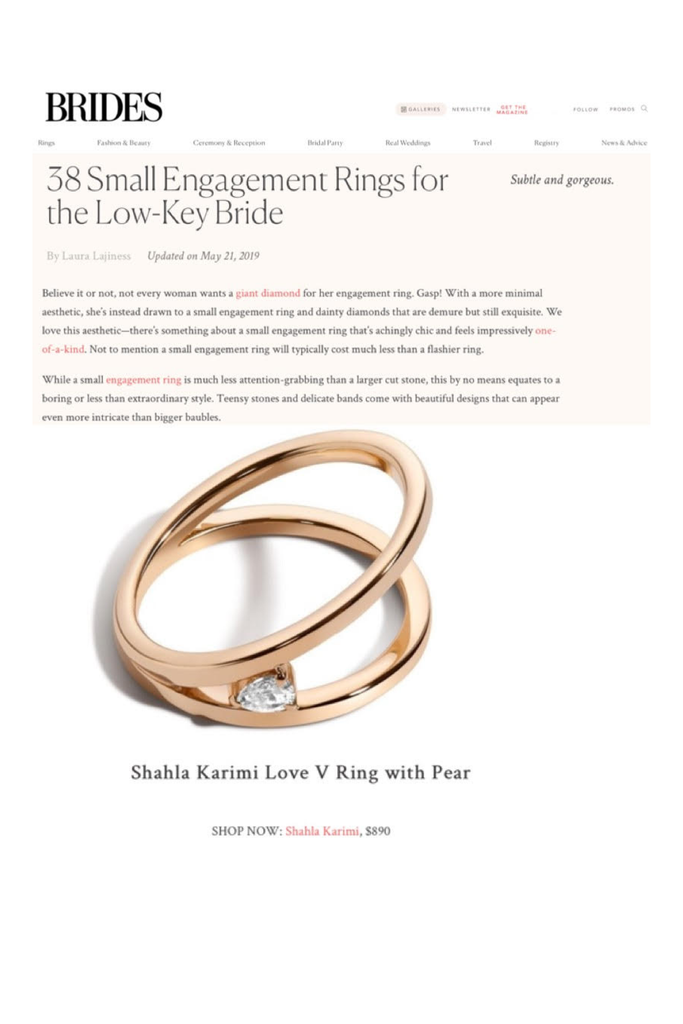 The Shahla Karimi Love V Ring with Pear named one of the best small engagement rings for the low-key bride.