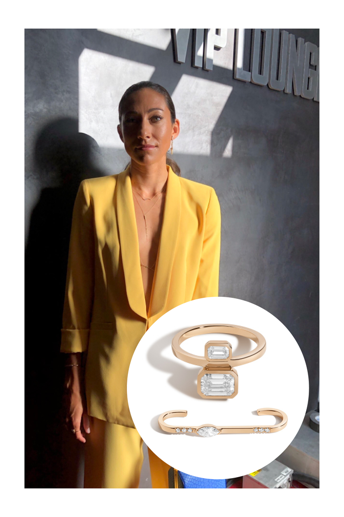 Christen Press Wearing the Shahla Karimi Emerald Belt Ring and Marquise Top of Ear Cuff.