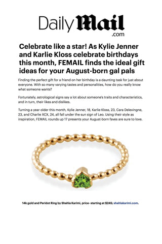 Daily Mail features the Shahla Karimi 14K Peridot Birthstone Ring No. 3
