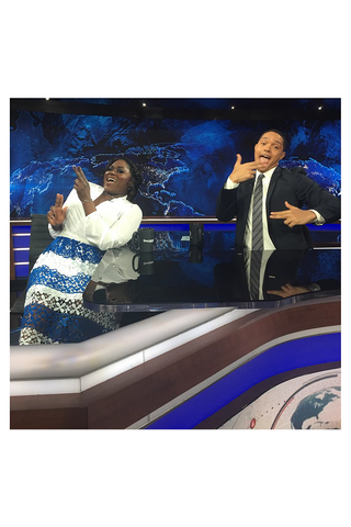 Danielle Brooks wears the Shahla Karimi 14K Subway Series Rings on The Daily Show