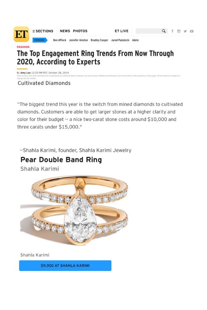 The Shahla Karimi Pear Double Band Ring featured in Entertainment Tonight's article on the Top Enagement Ring Trends.
