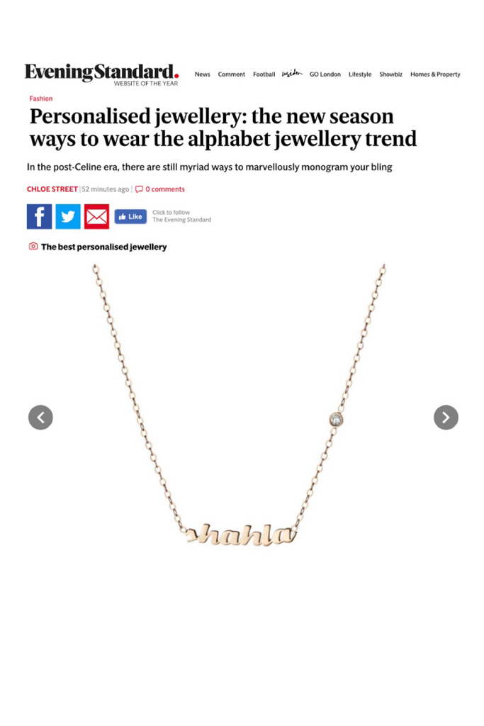 Evening Standard mentions The Shahla Karimi Personalized Name with Diamond Necklace in their article on the best personalized jewelry.