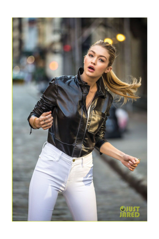 Gigi Hadid wearing the Shahla Karimi In-Between Bars Ring for a Maybelline Commercial