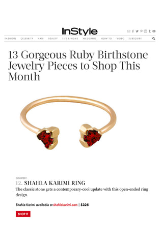 InStyle.com features the Shahla Karimi 14K Ruby Birthstone Ring No 2