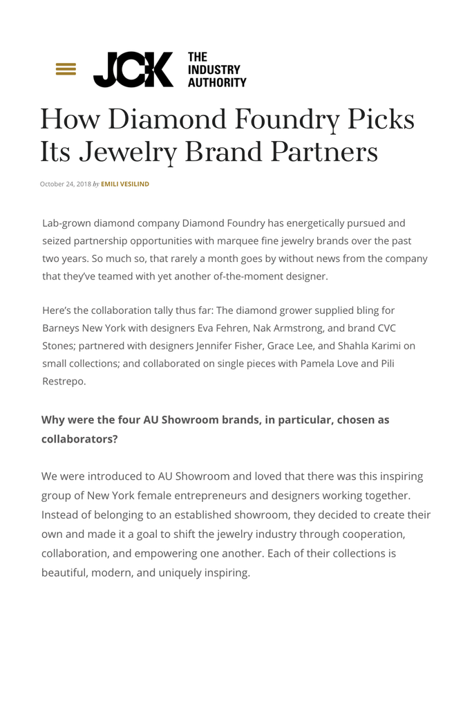 JCK includes more coverage of the Shahla Karimi X Diamond Foundry collaboration.