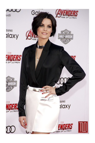 Jaimie Alexander wears the Shahla Karimi Mirror Choker to the Avengers premiere