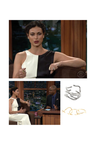 Morena Baccarin wears the Shahla Karimi Subway Series Rings on The Late Late Show