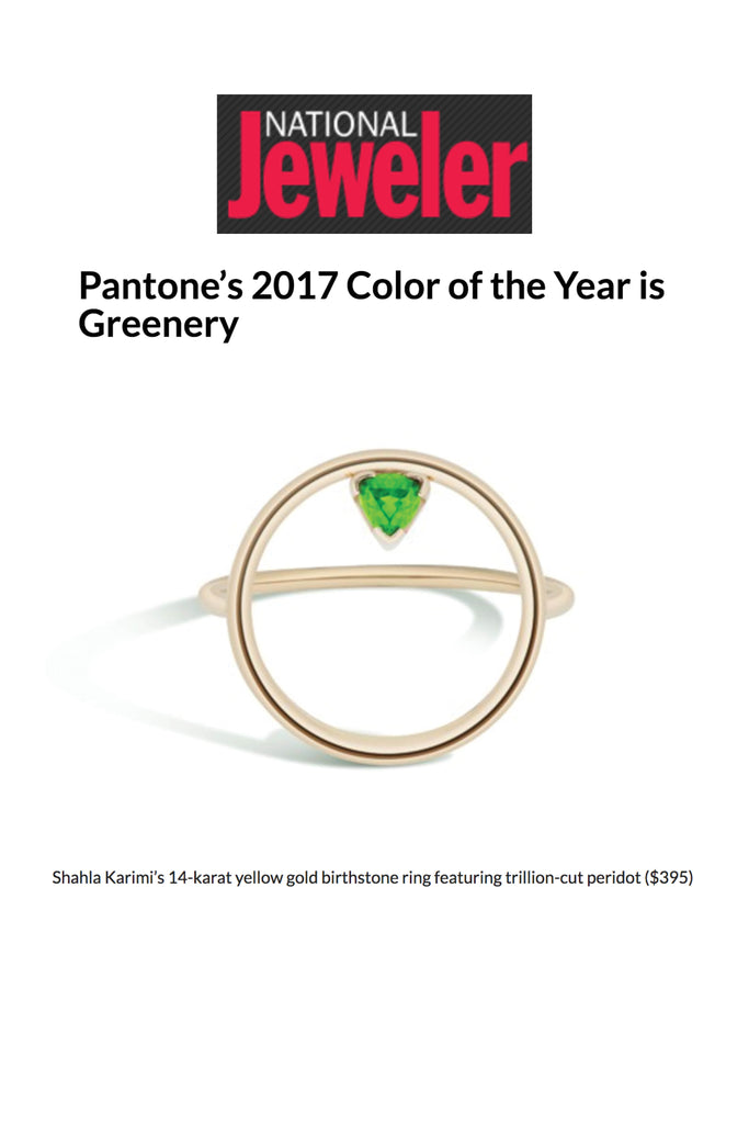 National Jeweler features the Shahla Karimi 14K Emerald Birthstone Hoop Ring