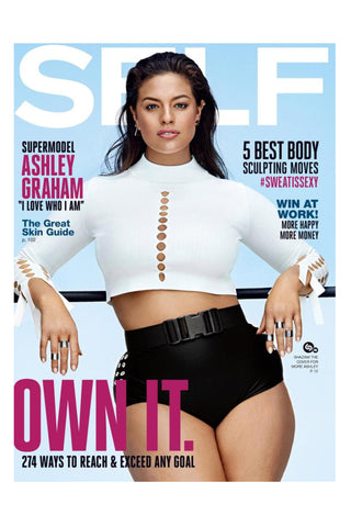Self Magazine features Ashley Graham wearing the Shahla Karimi Honeycomb Ear Cuff