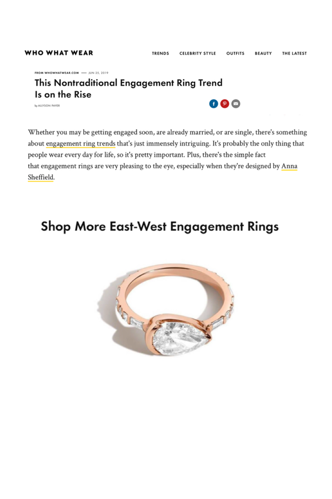 Who What Wear features the Shahla Karimi Pear East-West Ring in their article on the non-traditional engagement ring trend.