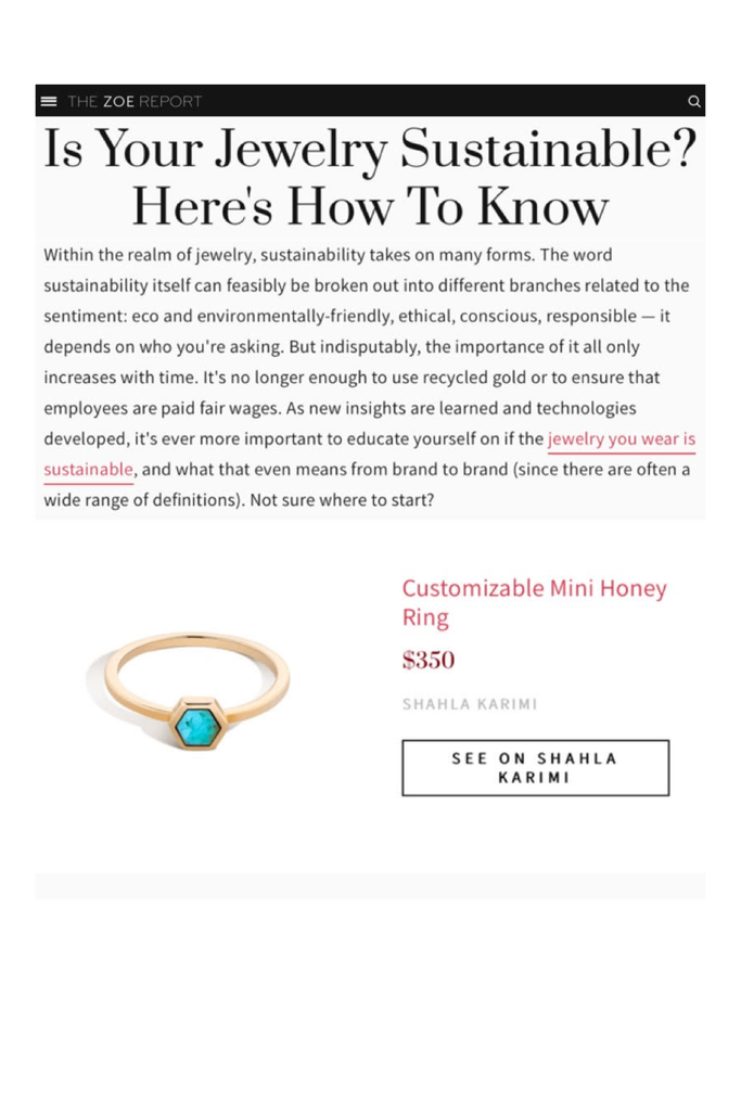 The Shahla Karimi Customizable Mini Honey Ring featured in The Zoe Report's article on Sustainable Jewelry.