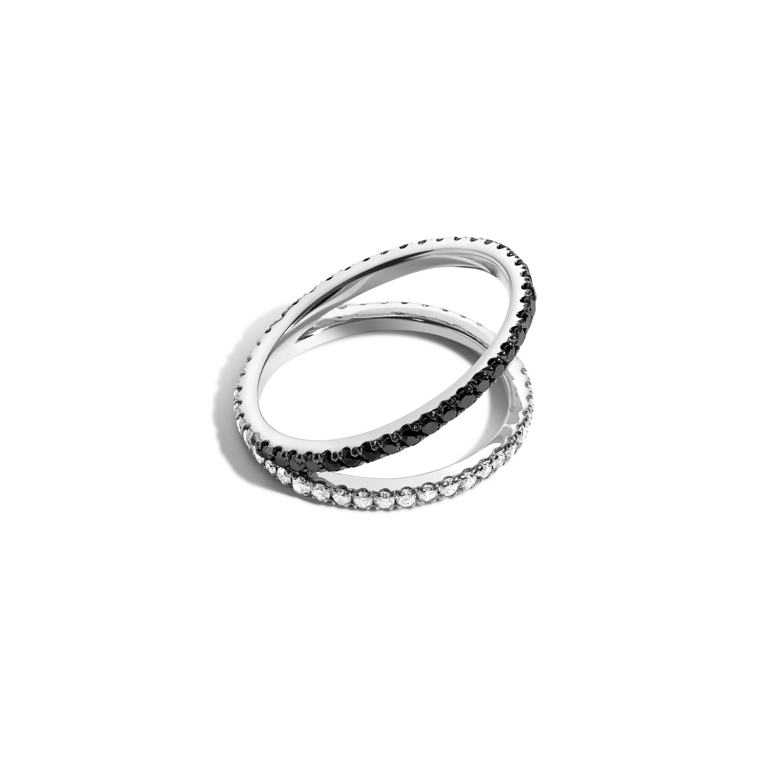 Shahla karimi 14k gold love black diamond and white diamond split v ring