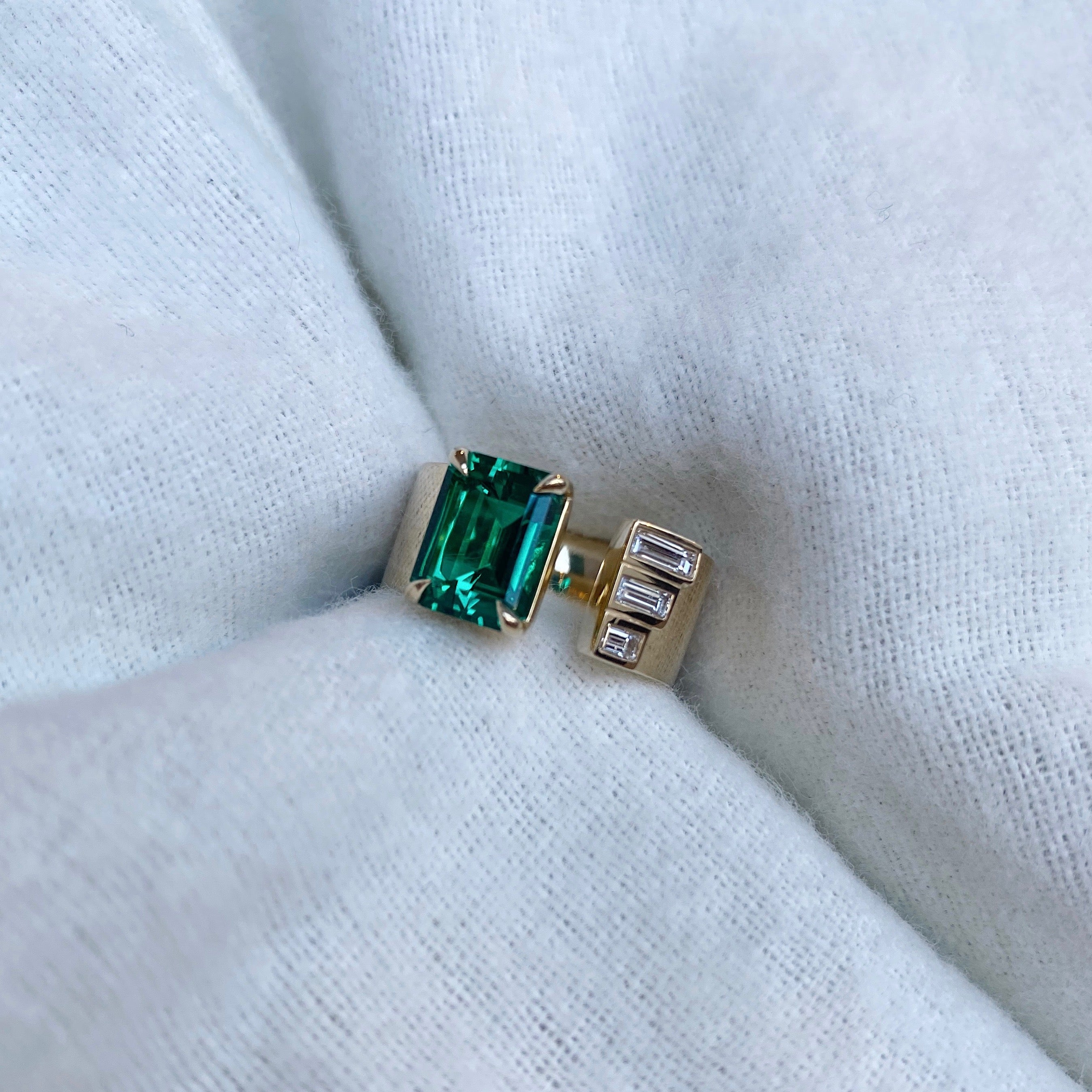 Shahla Karimi Custom Emerald Gap Ring