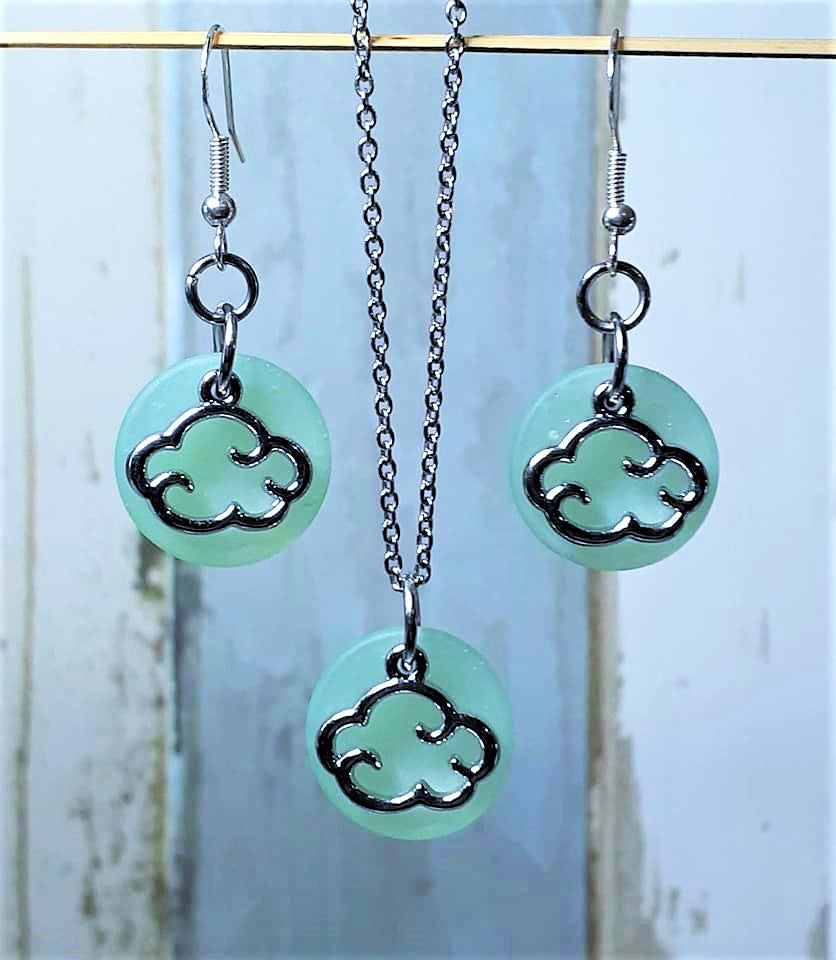 Sea Glass Charm Necklace & Earring Sets