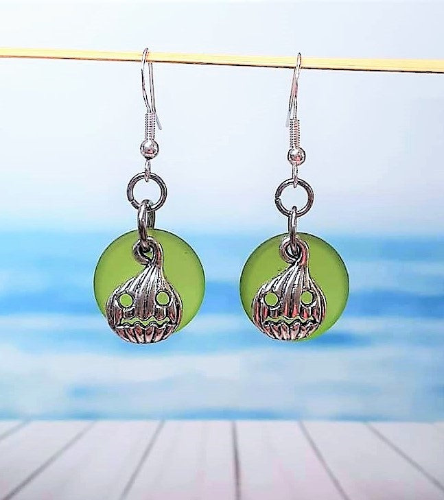 Sea Glass Carved Pumpkin Earrings | Jackolantern earrings | Halloween | Sterling Silver | Earrings | Sea Glass Earrings | Sea Glass Jewelry