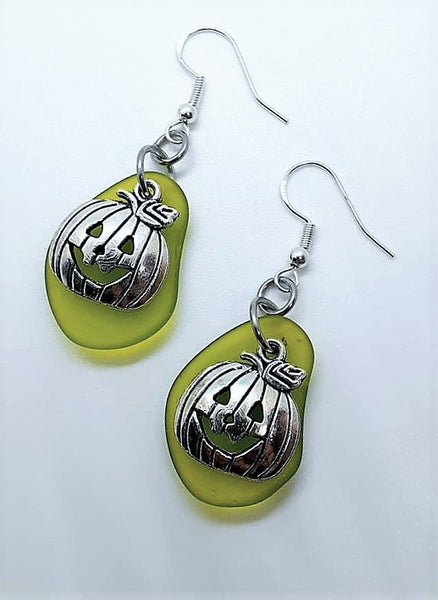 Sea Glass Pumpkin Earrings | Sterling Silver | Halloween | Pumpkin Earrings | Sea Glass Earrings | Sea Glass Jewelry | Dangle Earrings