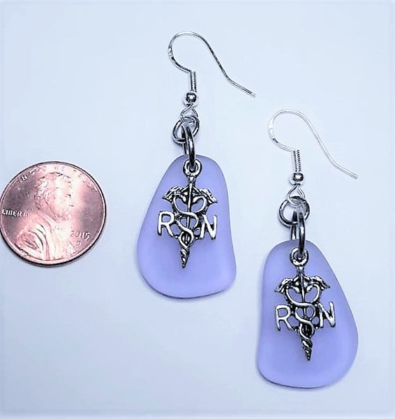 LIMITED EDITION Lilac Sea Glass RN Earrings | Registered Nurse | Nurse Earrings | Sterling Silver | Sea Glass Earrings | Sea Glass Jewelry
